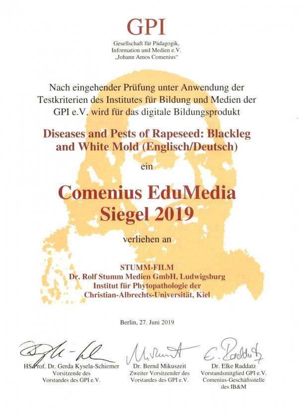 Urkunde Comenius Siegel 2019 verliehen an STUMM-FILM Medien GmbH - Ihrer Agentur für Film, Medien, Animation und Werbung